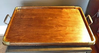 SUPERB LARGE VINTAGE 1950s RECTANGULAR WOOD & BRASS BUTLERS TRAY Curved Handles