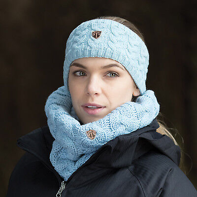 Equetech Ladies Contour Knit Headband & Loop Scarf Set- Frost Blue