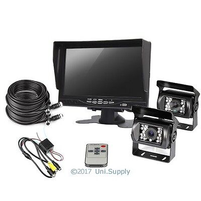 """Reversing Kit 2 CCD 4PIN Cameras + 7"""" LCD Monitor 2x15m Cable Lorry Horse Float"""