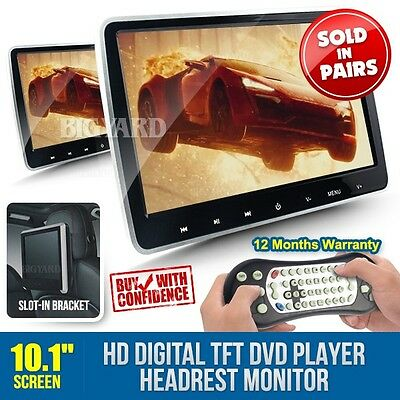 "Pair 10.1"" 1024x600 HD Digital TFT-LCD Stereo DVD Player In-Car Headrest Monitor"
