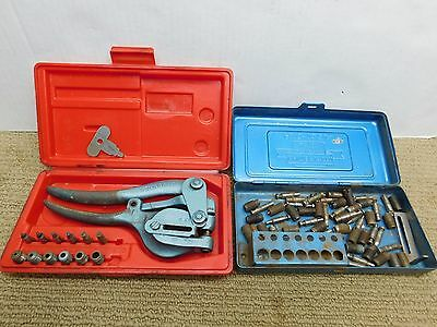 Roper Whitney No. 5 Jr. Metal Hand Punch Tool Set 2 Case Many Dies EXTRAS!