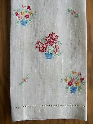 "Vintage 19"" Linen Tea Towel ~ Hand Embroidered Flower Pots ~ Hemstitch Edges"