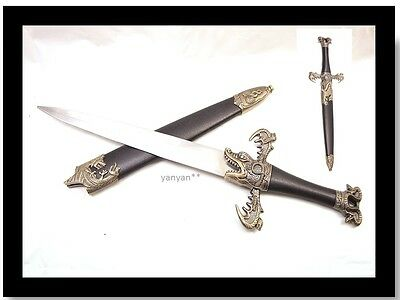 Dragon King Medieval Fantasy Dagger Knife with Immitate Black Leather Scabbard