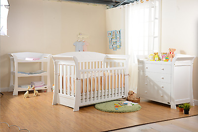 Brand New Package 3in1 Wooden Sleigh Baby Cot   Free New Mattress