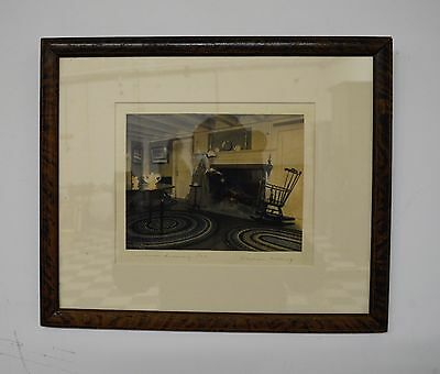 "Original WALLACE NUTTING Signed Colored Photo Art Print - Framed - 15"" x 12"""