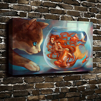 Landscape Painting The trapped mermaid Oil HD Art Print on Canvas Home Decor