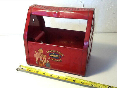 Vintage Red Metal Amsco Shu-Shine-Bank Container Box Toy
