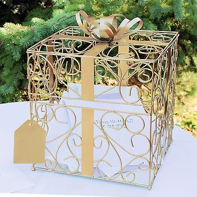 Gold Wedding Reception Gift Card and Money Box