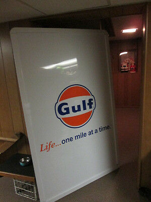 Gulf Oil gas station Sign 6' x 4' Sign Life one mile at a time NIB mint