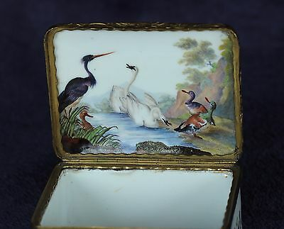 RARE 18 th PORCELAIN SNUFF BOX WITH HANDPAINTED SCENES WITH BIRDS EARLY