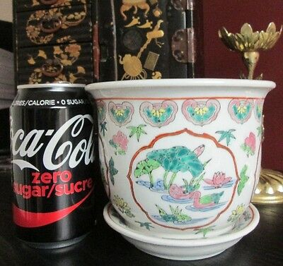 VINTAGE CHINESE FAMILLE ROSE Planter Pot Bowl Jardiniere HAND PAINTED!