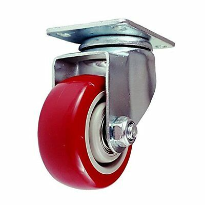 Caster Wheels Swivel Plate/Stem Casters On Red Polyurethane Heavy Duty