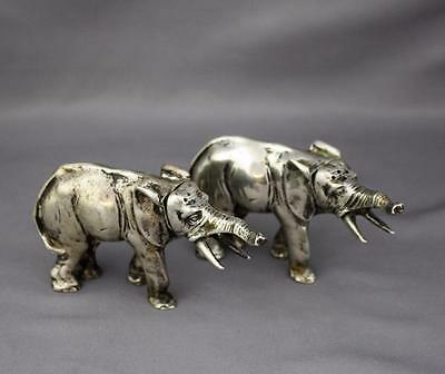 Pair 800 Silver Elephant Salt and Pepper Figural Shakers B&Z Germany German