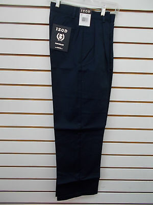 Boys IZOD Navy Uniform/Casual Pleated Front Stain Resistant Pants Size 16 - 18