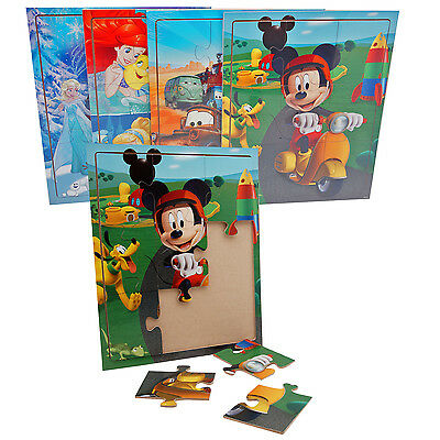 4x Disney Holz Puzzle Mickey Mouse Prinzessin Frozen Pixar Cars Maus Spielzeug