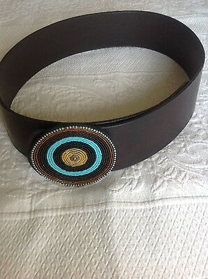 African Kenyan Handcrafted Ethnic leather and bead belt