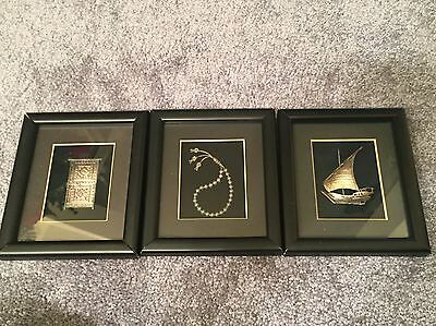 Lot Of 3 Vintage Turathuna Hand Crafted 925 Sterling Silver Souvenirs