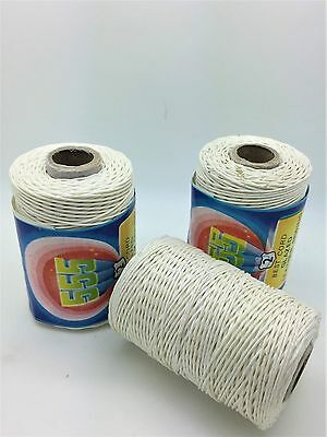 100% Cotton Heavy Duty White Threads 150M Leather Sewing Waxed Thread Hand UK