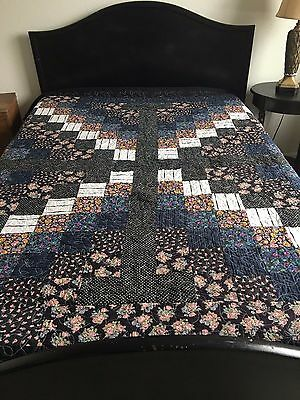 Midnight Garden Pieced Handmade Double/Full Quilt