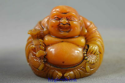 Collectable Handwork Shoushan Stone Carve Buddha Hold Lucky Exorcism Evil Statue