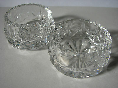 Thomas Webb & Corbett c1930s  glass salt (2) / Star cut base / Cross cut body