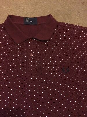 Men's Fred Perry Polo Shirt Size L Slim Fit Polka Dot Mod Retro Vintage Indie