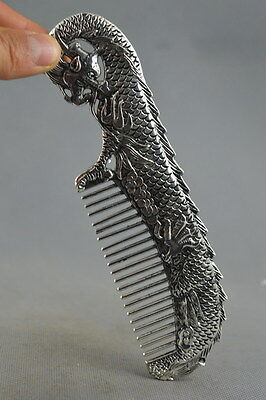 Collection Handwork Old Miao Silver Carve Dragon Bite Bead Ancient Exorcism Comb