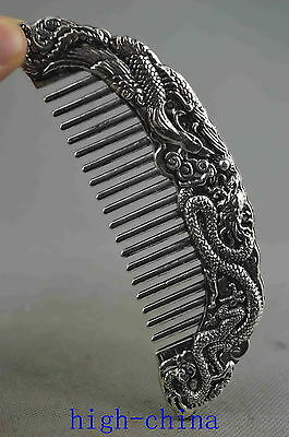 Collectable Handwork Old Miao Silver Carving Mighty Dragon & Phoenix Dance Comb