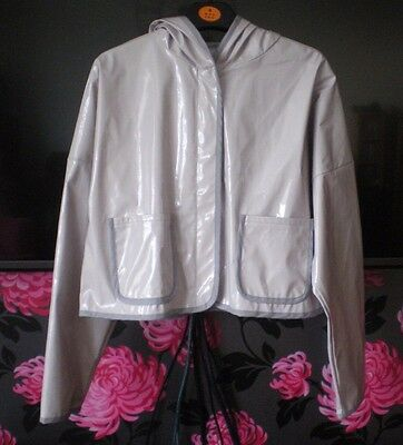 Asos Cropped Hooded Pvc Jacket In Lilac Size 10 New With Tags