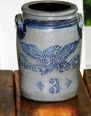 3 Gal. Pittsburgh Eagle Pottery Salt Glaze Crock (Stencilled Eagle) Circa 1870