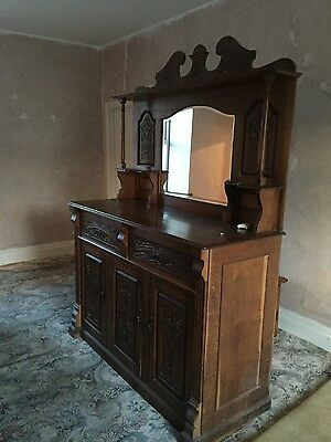 Large Early Victorian Oak Chiffonier Sideboard