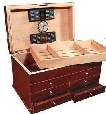 THE CHERRY CHEST 350 ~ Hi-Gloss Lacquer Cherrywood Finish ~ 350ct. Cigar Humidor