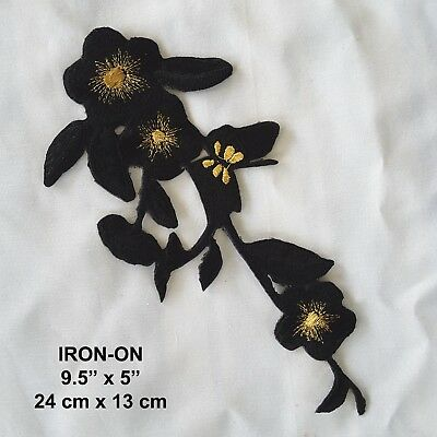Black Flower Embroidered Iron-on Dress Patch Floral Cosplay Applique
