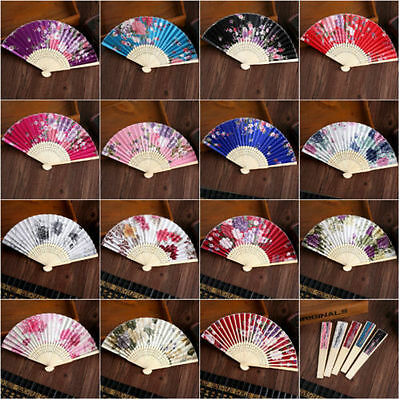 Chinese Flower Silk Lace Folding Hand Held Fan Wedding Dancing Party Prom LOT