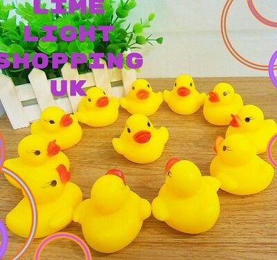50X Mini Yellow Bathtime Rubber Duck Ducks Bath Toy Squeaky Water Play Kids