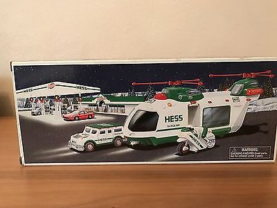 Hess Truck 2001 Helicopter W/motorcycle & Cruiser New In Box