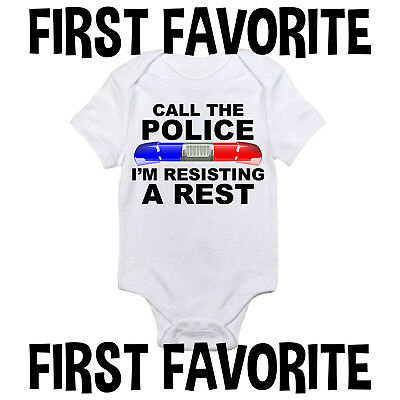 Police Baby Onesie Bodysuit Shirt Shower Gift Funny Cute Infant Unique Gerber