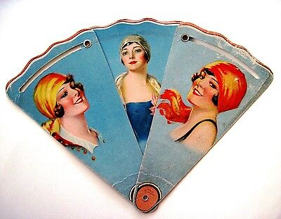 "Vintage Ad Fan for ""Holthe The Tailor"" w/ 3 Lovely Ladies In Pretty Scarves *"