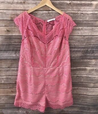 f16b02aa309 NEW Women s Plus Size Renn Cap Sleeve Lace Romper Pink Size 3X New With Tag