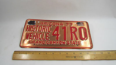 1977 Arizona Historic Vehicle License Plate 41R0 Copper Colored Type 2