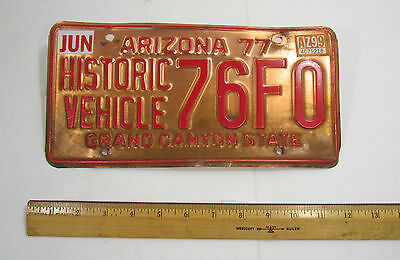 1977 Arizona Historic Vehicle License Plate 76F0 Copper Colored Type 2