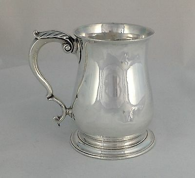George II Solid Silver 1 Pint Beer Mug Tankard London 1752 Georgian Feather Cap