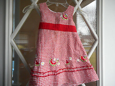 B T Kids Red & White Checked Dress Size 2 T W Embroidered Daisies & Watermelons