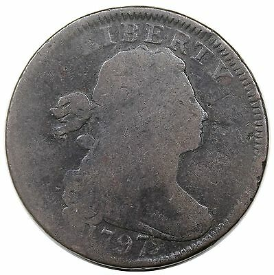 1797 Draped Bust Large Cent, Reverse of '97, Stems, S-128, R.3, G+ detail