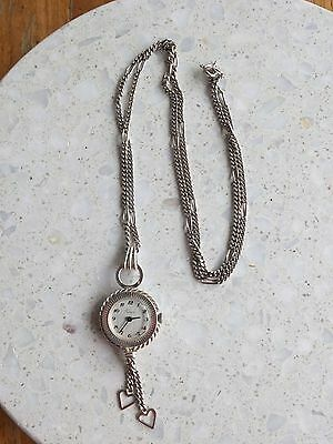 1960s Felicia 800 Silver Pendant watch Necklace Swiss movement French case