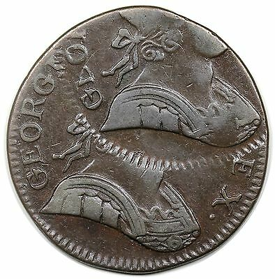 (No Date) Non-Regal Great Britain Halfpenny, George III, dramatic double strike