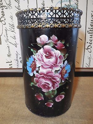 Vintage TOLE PAINTED TRASH CAN Metal Wastebasket Roses Flowers Shabby Cottage