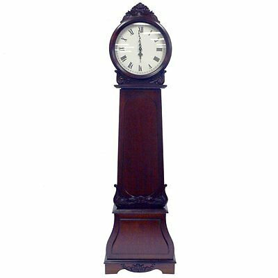 REGAL - Grandfather Clock with Chimes and Storage Shelves - Mahogany