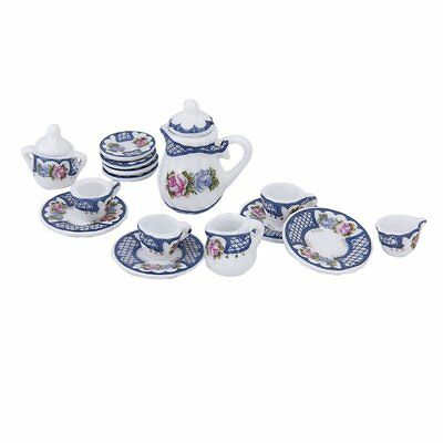 15pcs Miniature Porcelain Tea Set Dish/Cup/Plate---Blue for 1/12 Dollhouse V3W2