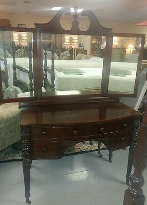 Antique Walnut Mahogany Triple Mirror Vanity 1920's Matching Pineapple Bed Avail